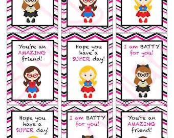 Superhero Girl Valentine's Day Cards, Valentine's Day Cards, Instant download, Printable, Digital