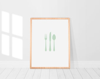Minimalist Silverware Kitchen Art in Pale Green