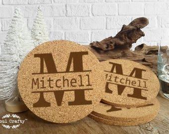 Set of 6 Cork Coaster Engraved Personalized Split Middle Block Monogram Initial Groom Bride Bridesmaid Groomsman Rustic Wedding Gift Memento