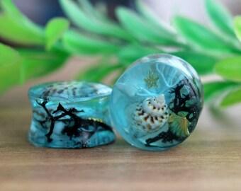 Nature terrarium, ear gauges, water mermaid, ear plugs,  plugs tunnels gauges, resin plugs, blue ocean , minimal jewelry, plug earrings