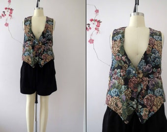 Vintage 80s Tapestry Vest Medium Large