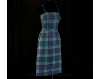 Size 4 Sun Dress - Pure Thai Silk Summer Dress - 1950s Girl Next Door - Blue & Purple - Late 50s Early 60s - With Belt - Waist 25 - 46577