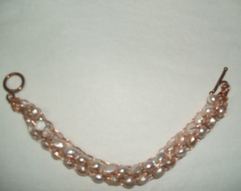 Pale PINK FRESHWATER PEARLS, Caged In Copper, (pearls woven into copper rope)