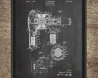 Hair dryer blueprint etsy hair drier patent print hair dryer poster hair drier blueprint beauty salon poster malvernweather Images