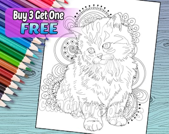 Adorable Kitten - Adult Coloring Book Page - Printable Instant Download