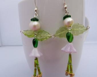 spring flower fairy earrings