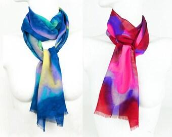 Vintage Silk Scarf 1970s Georgette Made in France NWOT Hand Painted Ascot Janis Joplin Multiples