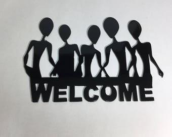 Alien Welcome Sign Metal Art