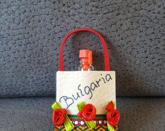 Leather purse fridge magnet with Bulgarian ROSE Oil Perfume