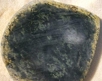 Jade Stone Slab - Dark Variegated Green & Yellow Rind by JewelryArtistry - SL47