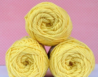 Kacenka - soft cotton/acrylic yarn for crochet and knitting, Light yellow color, No. 1134, 1 ball/50 g, Producer NCT