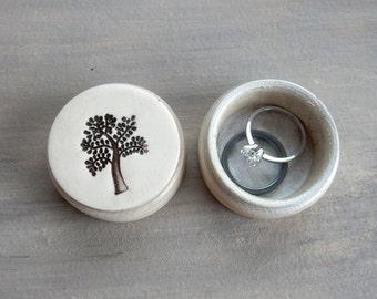 Small Tree Of Life Ring or Pill Box Anniversary Wedding Jewelry Pretty Keepsake Nature Birthday Gift Decorative Pottery Photography Prop