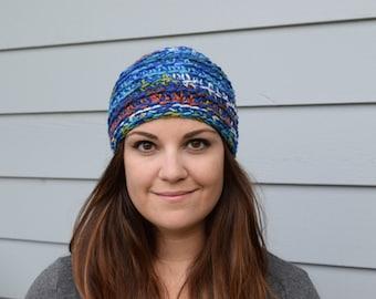 Blue Double-Strand Crochet Beanie