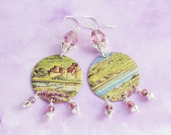 Castle Landscape Earrings with Purple Beads and Vintage Tin, Castle Earrings, Unique Handmade Jewelry