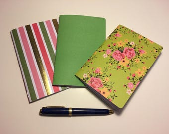 "Set of 3 A6 Traveler's Notebook Inserts ""Spring Green"""