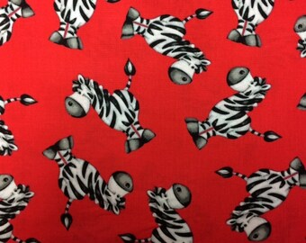 Henry Glass & Co ABC123 (Red Zebras) 100% Cotton Premium Fabric for Quilting - sold by 1/2 yard