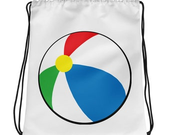 Rainbow beach ball playing Drawstring bag,game,summer life,players,funny