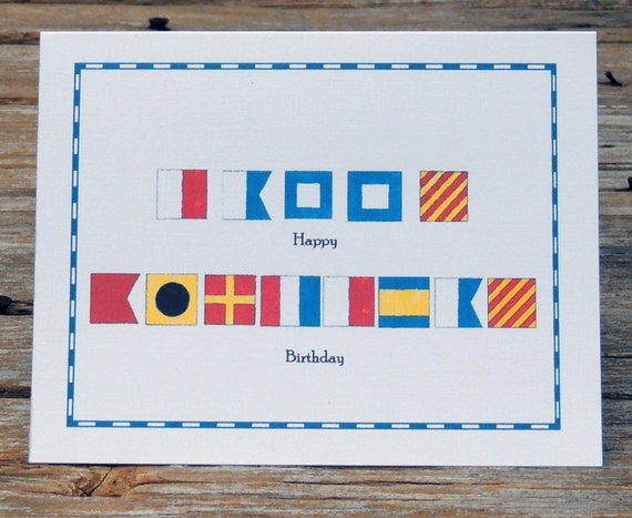 Nautical Flag Marine Alphabet Code Happy Birthday Card set of
