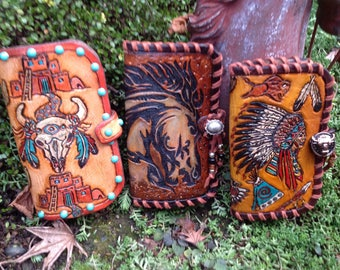 SouthWestern HandToold Leather IPhone Wallets.--- choose--- 6 plus ,7plus,or 8 plus