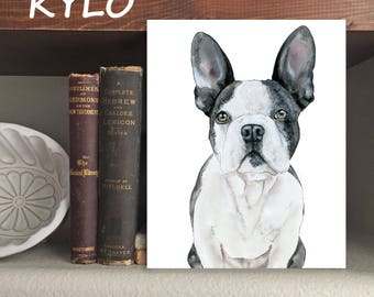 """Frenchie """"Kylo"""" Dog - Print of Original Watercolor and Ink"""
