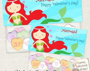 Mermaid Valentines Treat Bag Toppers for kids, Girls Valentine Party Favors, Mermaid Valentine tags, school Valentine treat holders, cards