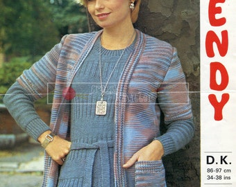 Lady's Sweater and Jacket DK 34-38in Wendy 1629 Vintage Knitting Pattern PDF instant download