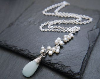 Wedding Necklace, Bohemian, Vine, Amazonite, Pearl Necklace, Freshwater Pearl, Sterling Silver, Y Necklace, Flower Necklace, Something Blue