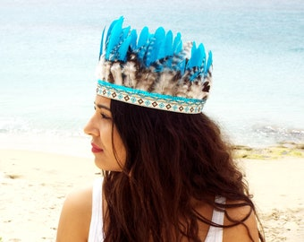 Blue Feather headband , Bohemian headband , Feather accessories , Gypsy headband , Native america headband, Festival headband