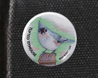 Tufted Titmouse Birder Pin