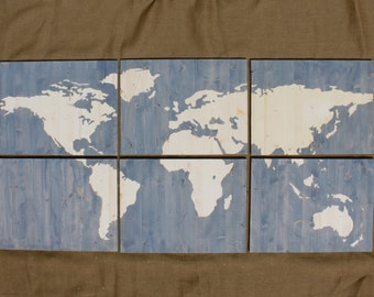 Large Wood Stain World Map 6ft x 3 ft