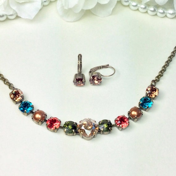 """Swarovski Crystal Necklace 12MM/8.5mm - """" New England Fall """"  Gorgeous Fall Colors - Sparkle & Shimmer - FREE SHIPPING"""