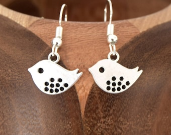 Earrings silver bird, bird, silver