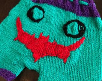 Newborn Wool Shorties Shorts Joker Batman Bum Cloth Diapering Ready To Ship handmade Knit