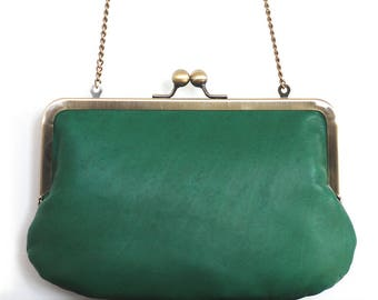Clutch bag, green leather purse, silk-lined, handbag with chain handle