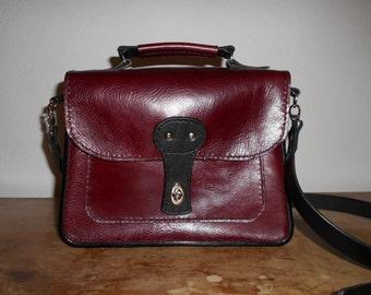 Borsa bordeaux in pelle, borsa da donna, tracolla, accessorio femminile in pelle, borsa italiana