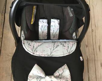 baby car seat apron harness strap covers detachable bow black white grey blossom universal fit new handmade cotton fleece sakura