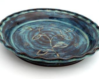 Teal ceramic pie plate Pottery pie dish Stoneware bakeware & Vintage Blue 10\