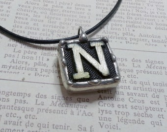 Soldered Art Charm, Initial N Pendant, Anagram Letter Necklace, Vintage Game Piece Jewelry, Fleur De Lis Charm, Upcycled Vintage Jewelry