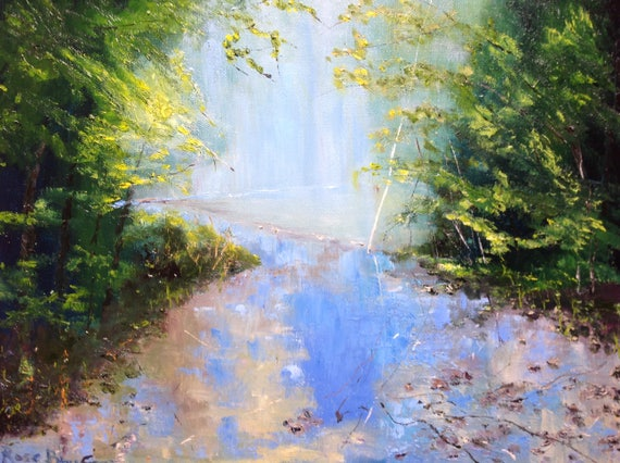 Water Art, Landscape Painting, Vacation Painting,  Misty waterscape painting