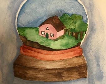 Sweet snowglobe watercolour painting
