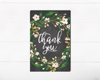 PRINTABLE Art Thank You Cards Chalkboard Floral Blush Thank You Pink Watercolor Bridal Shower Baby shower Birthday Thank you Card
