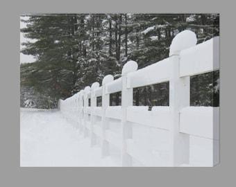 Snowfall Canvas Print / Snowy Path / Winter Wall Decor / Snowfall Photography / Country Decor / Housewarming Gift