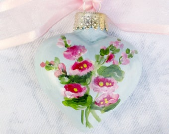 Hollyhocks Heart Ornament ~  Mothers Day ~ Handpainted Hollyhocks ~ April Birthday ~ Cottage Chic ~ Vintage Style ~