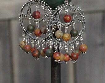Picasso Jasper Stone Chandelier Earrings ~ Earth Colour Stones ~ Boho Chandelier Earrings ~ Bohemian Jewellery ~ Semi Precious Stones