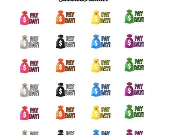 Pay Day Mini Planner Stickers Multicolored/ Planner Pay Day Stickers/ Pay Day Stickers/ Erin Condren Stickers/ Planner Sticker