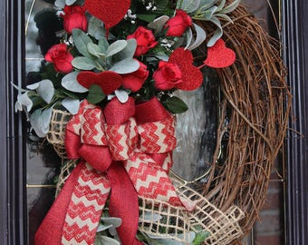 Valentine's wreath for front door, Red Roses Valentine wreath for door Valentine's Day wreath for front Door, Valentine's Day gift for her