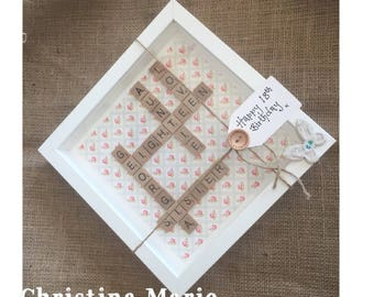 18th birthday frame, eighteen, gift, present, handmade scrabble
