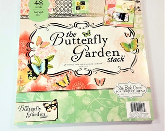 The Butterfly Garden Scrapbook Paper Pad by DCWV 48 Sheets