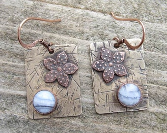Native American Inspired Blue Lace Agate Mixed Metal Earrings