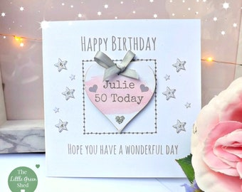 Birthday Gift Age card with Magnet Friend, Mum, Auntie, Sister Daughter Keepsake